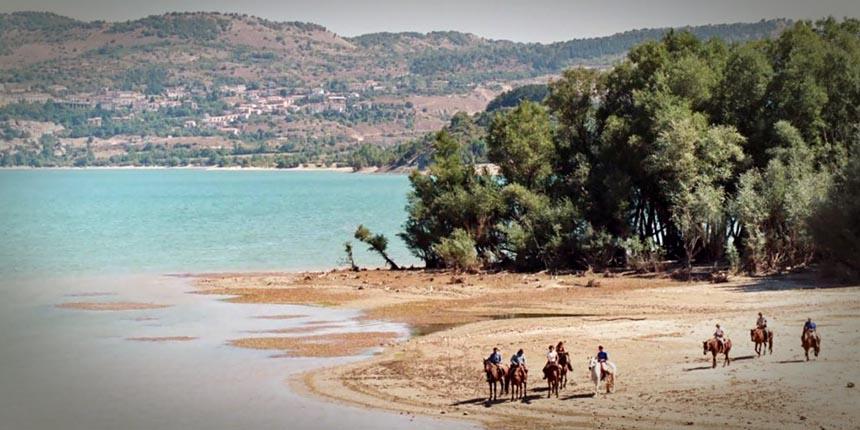 Cavalli al lago di Castel San Vincenzo