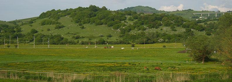 Vallata del Pantano con la pensione per cavalli del Ranch Brionna